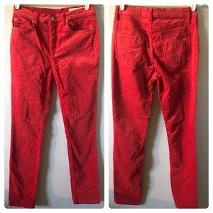 Rag & Bone Red Velvet High Waist Skinny Jeans 27